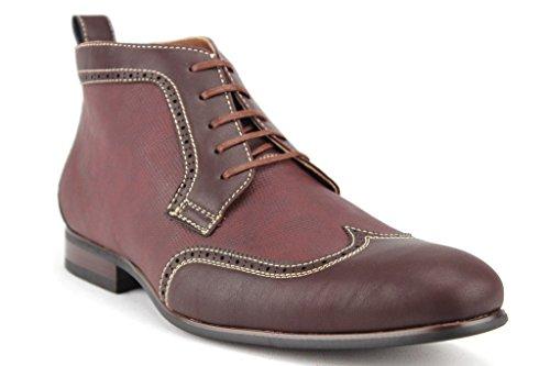 Ferro Aldo Men's 806383 Wing Tip Lace Up Dress Boots, Wine, 10