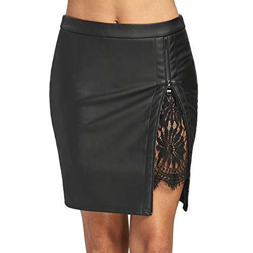DEZZAL Women's Faux Leather Lace Insert Zip up Bodycon Mini Skirt (XL, ()