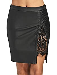 Women's Faux Leather Lace Insert Zip Up Bodycon Mini Skirt