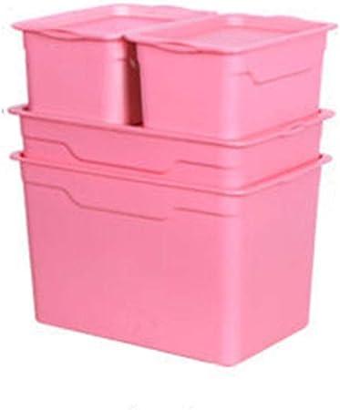 HUIQI Caja almacenaje Grandes de Almacenamiento, de plástico Caja de Almacenamiento, Cubierto Caja de Almacenamiento, Juego de 4 (Azul) Cajas almacenaje plastico (Color : Pink): Amazon.es: Hogar