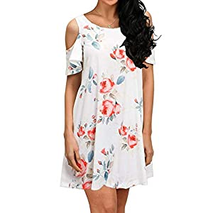 HAOMEILI Short Sleeve Women's Cold Shoulder with Pockets Casual Swing T-Shirt Dresses