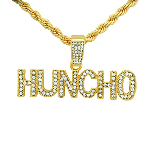 Yellow Gold-Tone Hip Hop Bling Iced Out Quavo Huncho Letter Pendant with 24