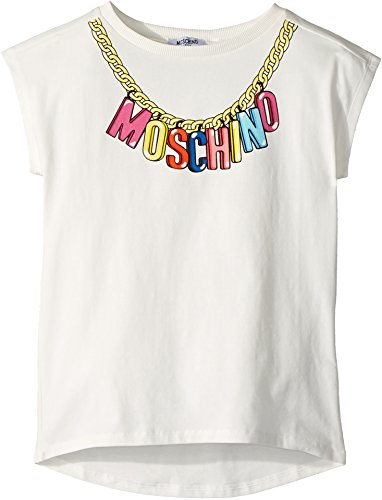 Moschino Kids Girl's Short Sleeve Logo Necklace Graphic T-Shirt (Big Kids) Cloud 12 by Moschino Kids