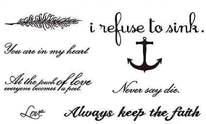lijinjin Black Keep The Faith Letter Tatuaje Falso Tatuaje ...