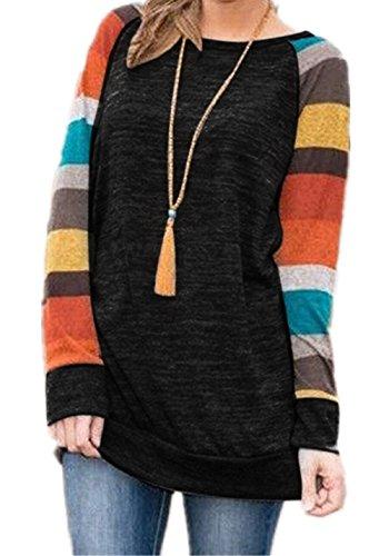 Lightweight Long Sleeve Pullover (HARHAY Women's Cotton Knitted Long Sleeve Lightweight Tunic Sweatshirt Tops Black & Yellow XXL/US12-14)