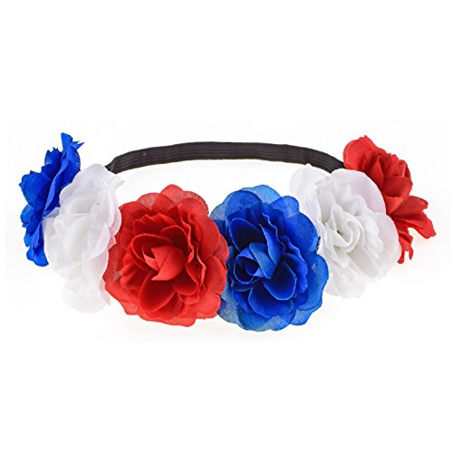 Love Sweety Rose Flower Headband Floral Crown Mexican Hair Wreath (Red White Blue)