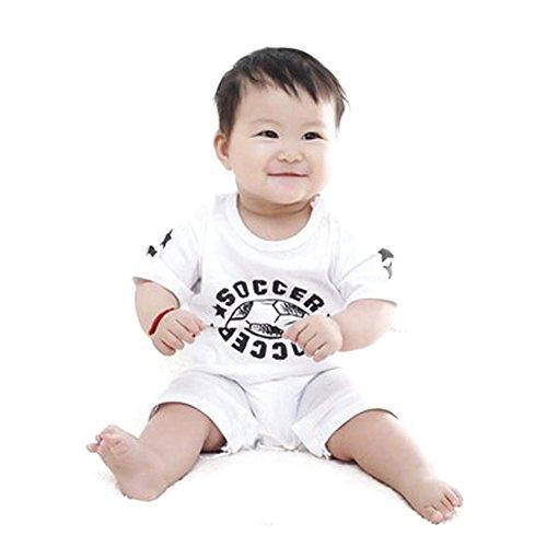 Bébé Enfants Football Imprimé Ange Barboteuse à manches courtes Body (Blanc 100)