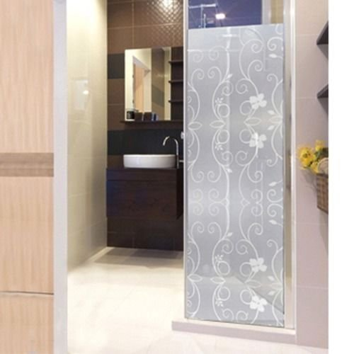 Careonline 45x100cm Waterproof Frosted Privacy Flowers Decorative Film 3D Static Cling Tulip Window Glass Films Sticker No Glue Film Self Adhesive for Office Privacy Home Bathroom Living Room