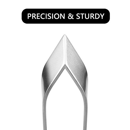 3 Pieces Stainless Steel Food Safe Fish Bone Tweezers Flat and Slant Non-Slip, Precision Grip for Debone Salmon Pliers Remover Tool(4.3''/4.7'') by HLovebuy (Image #2)