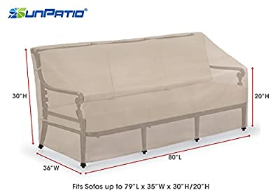 SunPatio Sofa Cover, Lightweight, Water Resistant, Eco-Friendly, Helpful Air Vent, 80''L & 93.5''L