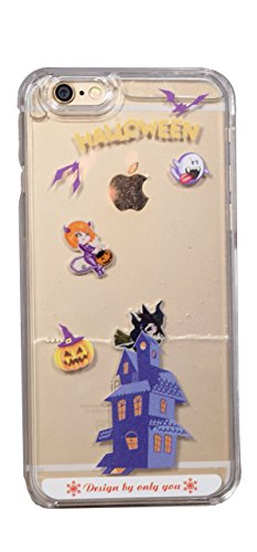 Xelcoy Halloween Design Ghosts Witch Floating Pumpkin Bats Liquid Hard Case Cover For iPhone 6 6s 4.7 inch - Transparent]()