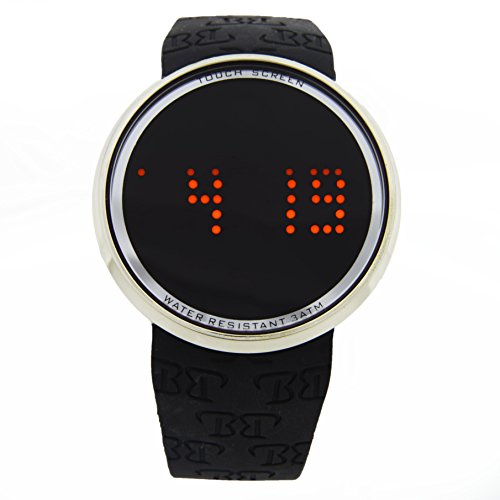 Gold and Black Fashion Hip Hop LED Touchscreen Rubber Watch with Scrolling Messages,Time, Date. Fun and Comfortable! - 7287 Black Gold