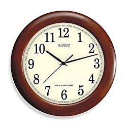 La Crosse Technology 12-Inch Atomic Wall Clock with Dark Red Wood Frame. Automatically Updates for Daylight Saving Time. Measures 12 in diameter