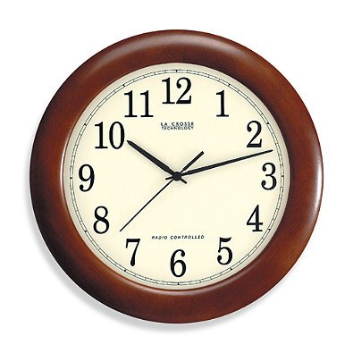 La Crosse Technology 12-Inch Atomic Wall Clock with Dark Red