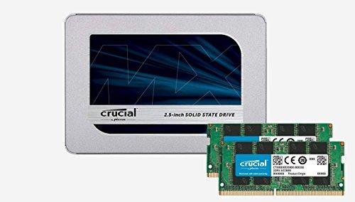 Crucial 8GB Kit (4GBx2) DDR4 2400 MT/S (PC4-19200) SR x8 Unbuffered SODIMM 260-Pin Memory - CT2K4G4SFS824A + Crucial MX500 500GB 3D NAND SATA 2.5 Inch Internal SSD - CT500MX500SSD1(Z)