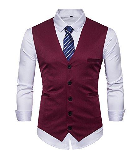 AOYOG Mens Business Suit Vest Slim Fit Formal Waistcoat Classic Blue Striped Necktie by AOYOG (Image #1)