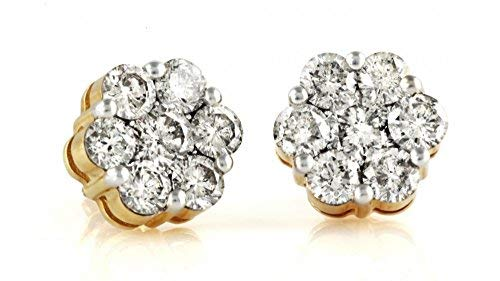 (1.00ctw Cluster Natural Diamond Round Cut Flower Studs Earrings 14K Yellow Gold)