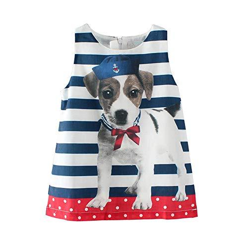 (HILEELANG Toddler Girls Summer Dresses Sleeveless Tank Top Outfit Cotton Pajamas Top DOP Print Casual Tunic)