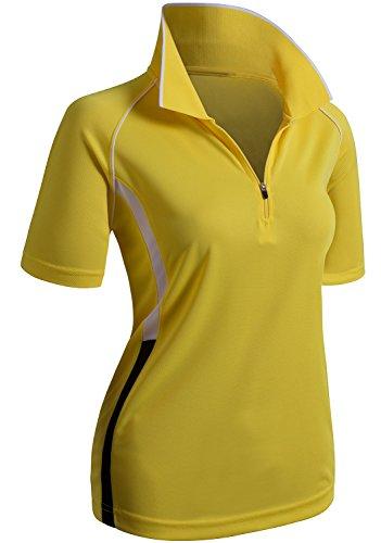 CLOVERY Moisture Wicking Coolmax Fabric Short Sleeve Zipup POLO Shirt YELLOW US XXL/Tag XXXL