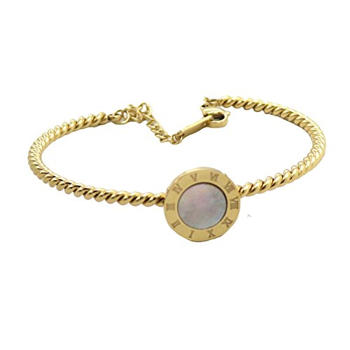 Baoli Titanium Steel 18k Gold Color Roman Numerals Wire Twist Cable Bracelet Adjustable (yellow gold color)