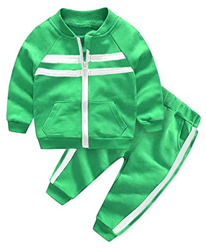 Kids Outfit, Varsity Track Jacket with Stripes & Sports Jogger Sweat Pants Set Sweat Suit Tracksuit for Toddlers, Little Boy & Girls, Green, 3-4 Years = Tag 7