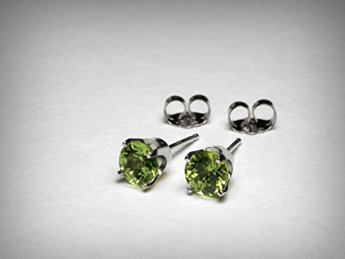 Genuine peridot stud earrings, in 14K white gold. AAA quality natural peridot from Arizona. 5mm. by Pristinity Jewelry