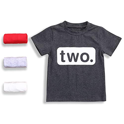 (2nd Birthday T-Shirt Toddler Kids Boy Outfits Two Year Old Top Clothes (2 T, Charcoal Black))
