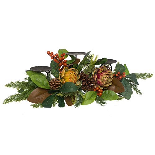 (Fall Winter Centerpiece Candle Holder Magnolia Leaves Artichoke and Pinecones)