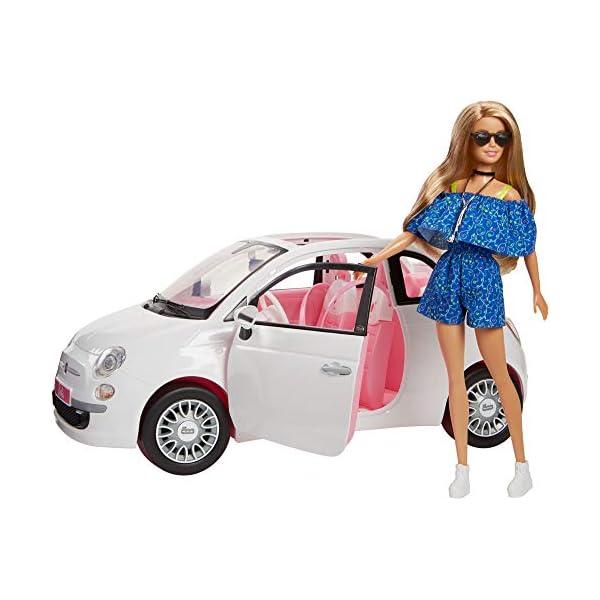 Barbie FVR07 Bambola con Fiat 500, Macchina con Dettagli Realistici, Portiere Apribili 1 spesavip