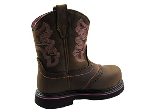 Hytest Womens Western Wellington Steel Toe, Electric Hazard, Non-Slip Safety Boot (6.5 B(M) US, Brown/Pink Accent)