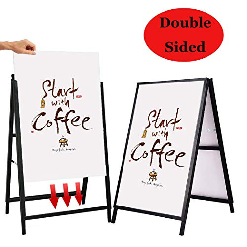 YDisplay A Frame Folding Sidewalk Sign Sandwich Board 24x 36 inches Poster Board Sign Double-Sided & Heavy-Duty,with Film Cover Waterproof for Indoor Outdoor,Black