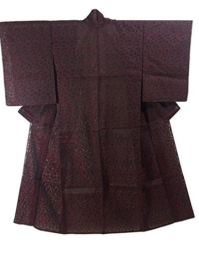 唇過激派傾向があるリサイクル 着物 夏物  絽紗 渦のような抽象文様 裄62cm 身丈149cm 正絹