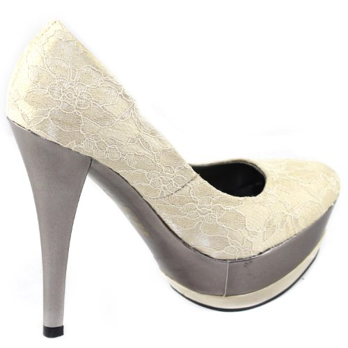 Beige Allens 2 Lace Womens Platform Gossip Fashion Pumps Shoes Double vOzwBC7