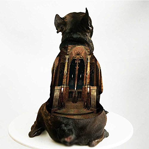 (YOLIYANA Gothic Stylish Pet Suit,Dark Mystic Ancient Hall with Pillars and Cross Dome Shrine Building Print for Small Medium Big Dogs,S)