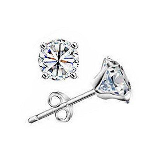 Boucles d'oreilles clous avec Zircon cristal transparent mariée cristal Bijoux-Boucles d'Oreilles Clous Femme-Argent 925/1000–Cristal
