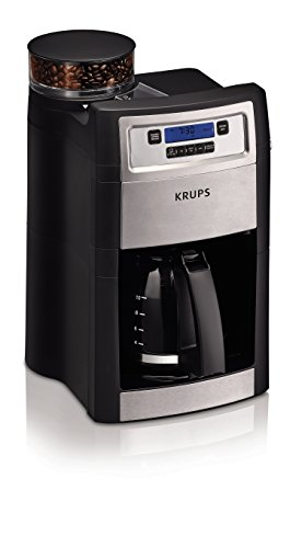 KRUPS Grind and Brew Auto-start Coffee Maker with Builtin Burr Coffee Grinder, 10 Cups, Black (Automatic Grinder Coffee Krups)