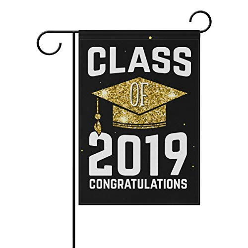 Wamika Congratulations Graduation Garden Flag 12 x 18 Double Sided, 2019 School Graduations with Golden Bachelor Cap Celebrate House Yard Outdoor Flags Banner, Graduation Decorations Gifts -