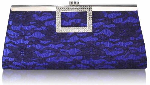 ANNA GRACE - Cartera de mano de Satén para mujer Design 1 - Blue