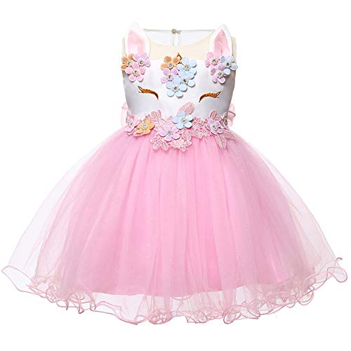 LZH Baby Girl Unicorn Flower Dress Bowknot Lace Birthday Party Baptism Gown