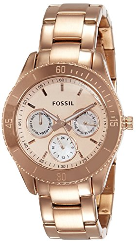 Fossil Women's Stella Quartz Stainless Steel Chronograph Watch, Color: Rose Gold  (Model: ES2859) (Fossil Watch Color)