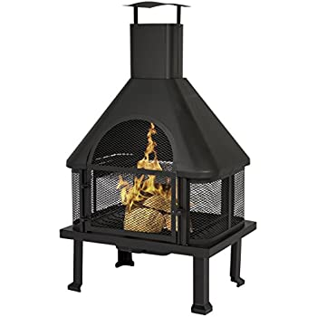 Charming Best Choice Products Firehouse Fire Pit With Chimney Outdoor Backyard Deck  Fireplace