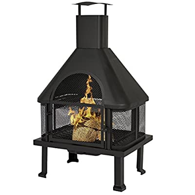Best Choice Products Firehouse Fire Pit With Chimney Outdoor Backyard Deck Fireplace - The clever design ensures your family's safety from blazing embers with its durable cast iron grate warp The chimney, aside from providing a great centerpiece, controls the exhaust by redirecting the smoke away from your guests It comes complete with a fire poker and a removable ash receiver for easy cleaning when the outdoor fun is done - patio, outdoor-decor, fire-pits-outdoor-fireplaces - 41vGkxhCRuL. SS400  -