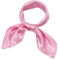 Satinior Chiffon Scarf Square Handkerchief Satin Ribbon Scarf for Women Girls Ladies, 23.6 by 23.6 Inch