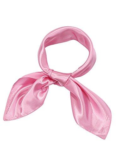 Satinior Chiffon Scarf Square Handkerchief Satin Ribbon Scarf for Women Girls Ladies, 23.6 by 23.6 Inch (Pink) ()
