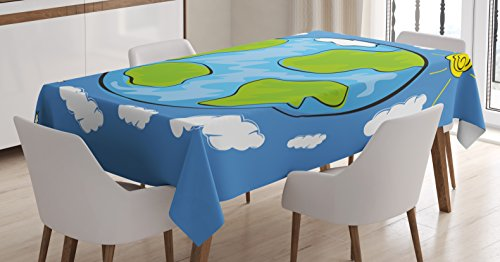 Ambesonne Earth Tablecloth, Child's Drawing of The Planet Earth Surrounded with Clouds Day and Night Cycle, Dining Room Kitchen Rectangular Table Cover, 52 W X 70 L Inches, White Green