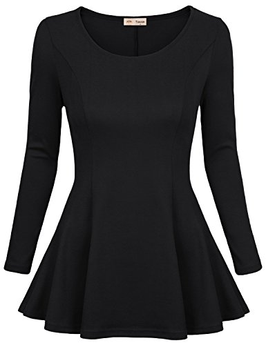 Timeson Peplum Top, Womens Long Sleeve Comfy Loose Fit Trapeze Tunics Top With Scoop Neck Small Black