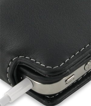 PDair Leather Case for Apple iPhone 4 & 4S - Flip Type (Snap Button)(Black)