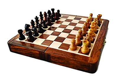 "Magnetic 7"" Inch Chess Set Game with Fine Wood Classic Handmade Standard Staunton Themed Ultimate Folding Chess Set - comes with storage for Pieces in the Wooden Board"