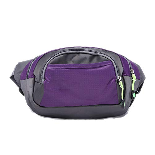 - Men and Women Waterproof Waist Packs Casual Belt Bum Waist Pouch Fanny Pack Zip Bag,Purple