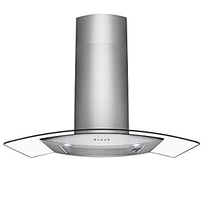 """Perfetto Kitchen and Bath 30"""" Wall Mount Stainless Steel Tempered Glass Push Panel Kitchen Range Hood Cooking Fan"""